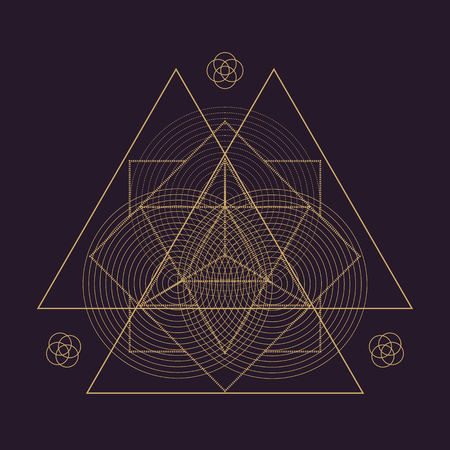 dark brown background: vector gold monochrome design abstract mandala sacred geometry illustration triangles Merkaba Seed of life signs isolated dark brown background