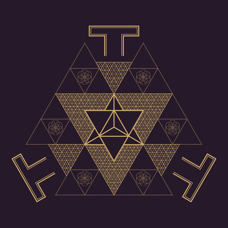 vector gold monochrome design abstract mandala sacred geometry illustration triangles Merkaba Seed of life signs isolated dark brown background