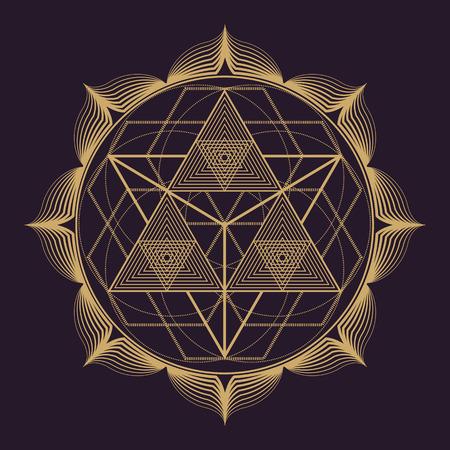 aislado diseño monocromático vector de oro mandala abstracta geometría sagrada ilustración triángulos de loto de fondo de color marrón oscuro