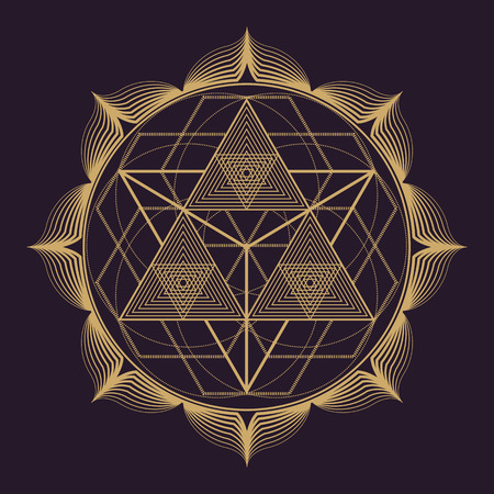 vector gold monochrome design abstract mandala sacred geometry illustration triangles lotus isolated dark brown background Иллюстрация