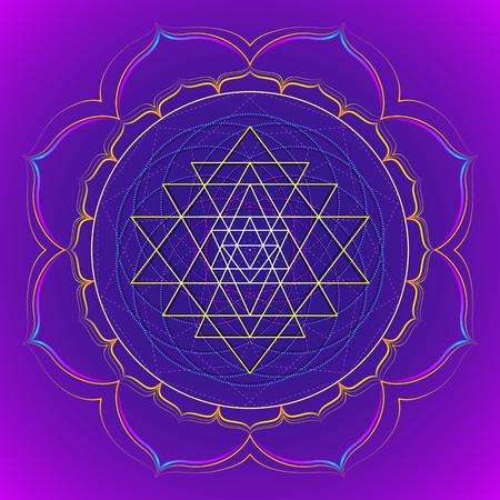 sri yantra: vector colored design mandala sacred geometry illustration Sri yantra lotus isolated dark background