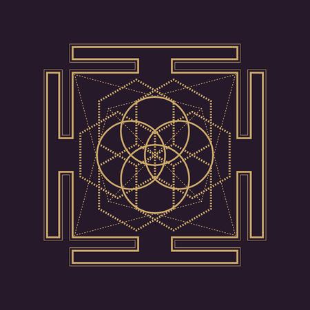 dark brown background: vector gold monochrome design abstract mandala sacred geometry illustration square hexagons bhupura isolated dark brown background