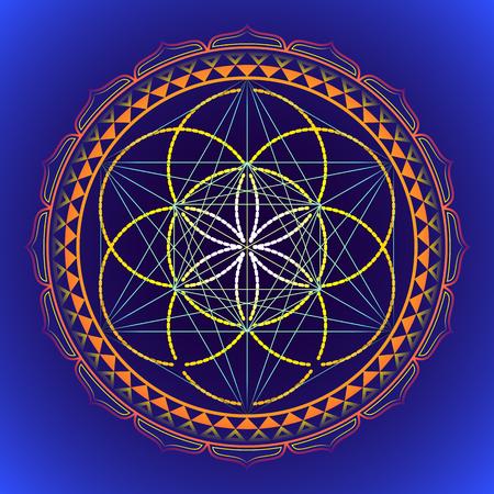 vector colored design mandala sacred geometry illustration Seed of life Metatron yantra isolated dark background Illustration