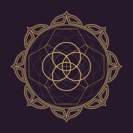 dark brown background: vector gold monochrome design abstract mandala sacred geometry illustration circles lotus isolated dark brown background Illustration