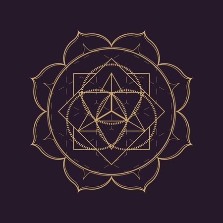 vector gold monochrome design abstract mandala sacred geometry illustration triangle circles Merkaba lotus isolated dark brown background