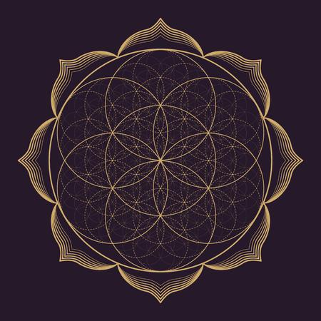 Vektor-Gold monochrome Design abstrakte Mandala heilige Geometrie Illustration Seed Blume des Lebens Lotus isoliert dunkelbraunem Hintergrund