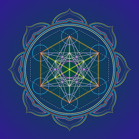 vector colored design mandala sacred geometry illustration Metatron's cube yantra lotus isolated dark background Vettoriali