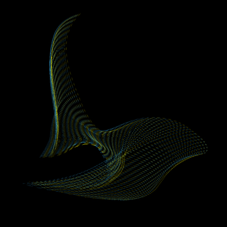 parametric: vector glitch green yellow warped parametric shape abstract fish waves black background decoration Illustration