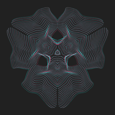 parametric: vector glitch anaglif warped parametric shape abstract shape waves black background decoration Illustration