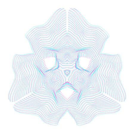 parametric: vector glitch anaglif warped parametric shape abstract shape waves white background decoration