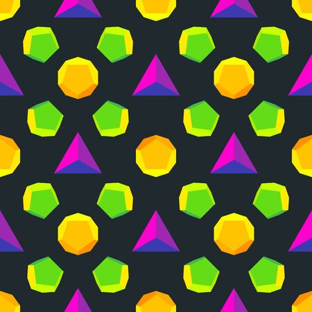 solids: Various platonic solids in different colors isolated black layout. Illustration
