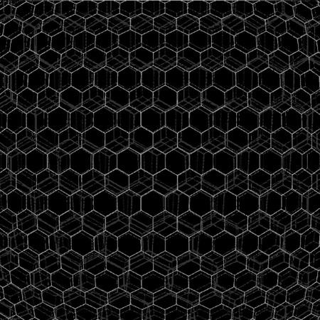 parametric: vector glitch parametric design monochrome hexagonal net black background decoration backdrop
