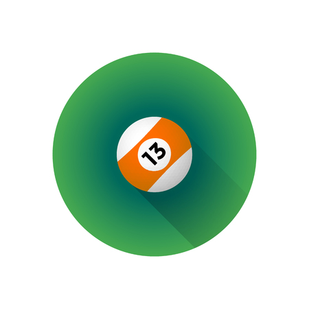 cue ball: vector colorful flat design billiard professional orange stripe ball number thirteen.