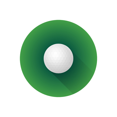 vector colorful flat design professional white golf ball isolated illustration green background circle icon with long shadow Illustration
