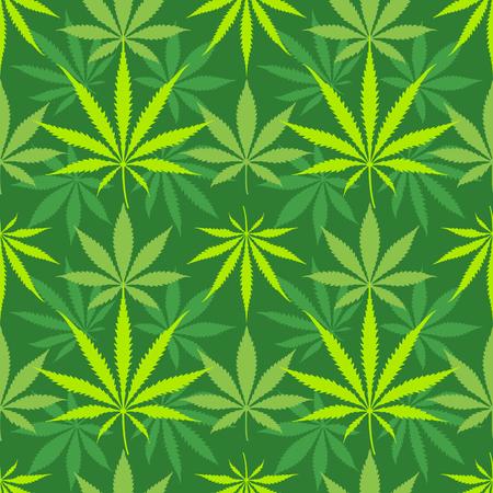 Vector various colors cannabis saliva indica marijuana leaves silhouettes decoration seamless pattern dark green background