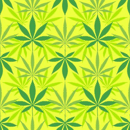 Vector various colors cannabis saliva indica marijuana leaves silhouettes decoration seamless pattern light green background Illustration
