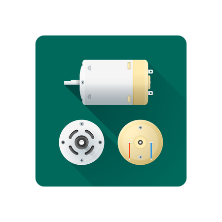 axle: vector colored flat design direct current electric motor different angles illustration icon long shadow rounded square background Illustration