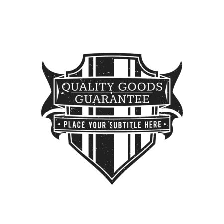 vector vintage black monochrome label grunge texture decoration retro shield ribbons banner design isolated on white background