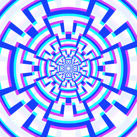 vector abstract circle geometry decoration anaglif colored three-dimensional illustration white background   Illustration