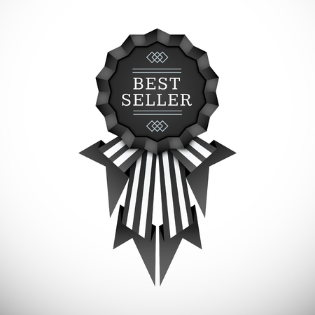 vector black colors flat design medal ribbons label decoration with shadows volumetric banner design isolated on white background   Illustration