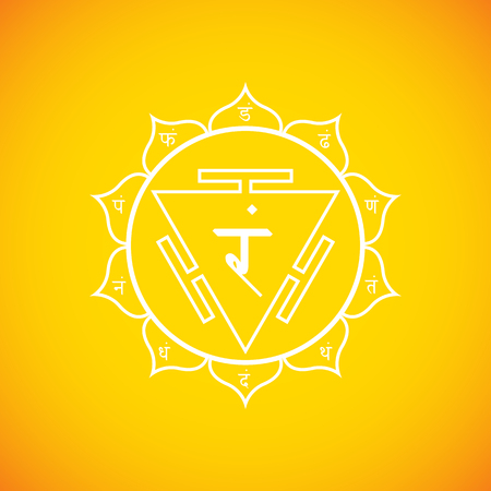 manipura: Vector third chakra Manipura sanskrit City of Jewels with hinduism seed mantra Ram and syllables on lotus petals. Outline contour white monochrome symbol with isolated colored yellow background for meditation, yoga and energy spiritual practices.  Illustration