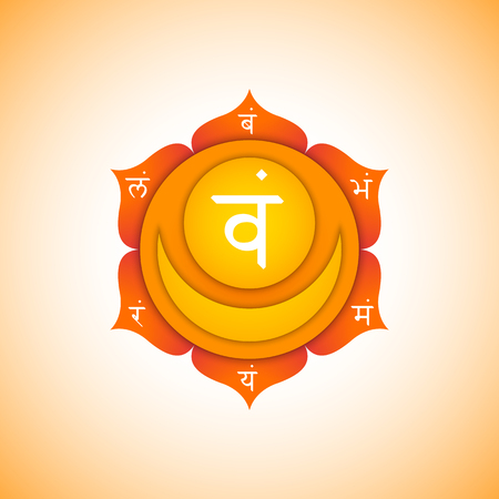 Vector second Svadhishthana sacral chakra with hinduism sanskrit seed mantra Vam and syllables on lotus petals. Flat style orange volumetric symbol with colored background design for meditation, yoga and energy spiritual practices.