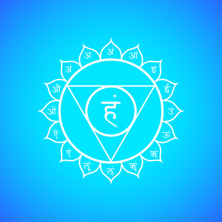 aura: Vector fifth Vishuddha throat chakra with hinduism sanskrit seed mantra Ham and syllables on lotus petals. Outline contour white monochrome symbol with isolated colored blue background for meditation, yoga and energy spiritual practices.