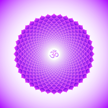 Vector seventh crown Sahasrara one thousand petals lotus chakra with hinduism sanskrit seed mantra Om. Flat style violet volumetric symbol with colored background design for meditation, yoga and energy spiritual practices.