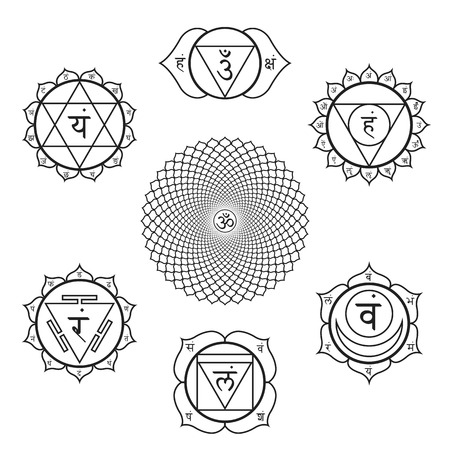 Vector set of hinduism chakras Muladhara, Svadhishthana, Manipura, Anahata, Vishuddha, Ajna, Sahasrara with sanskrit seed mantras and syllables on lotus petals. Collection of outline contour black monochrome symbols with isolated white background for medi Illustration