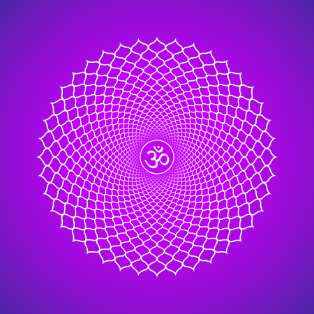 Vector seventh crown Sahasrara one thousand petals lotus chakra with hinduism sanskrit seed mantra Om. Outline contour white monochrome symbol with isolated colored violet background for meditation, yoga and energy spiritual practices.