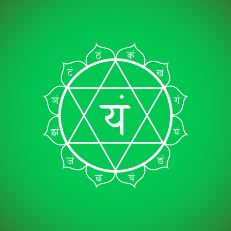 aura: Vector fourth heart chakra Anahata with hinduism sanskrit seed mantra Yam and syllables on lotus petals. Outline contour white monochrome symbol with isolated colored green background for meditation, yoga and energy spiritual practices.  Illustration