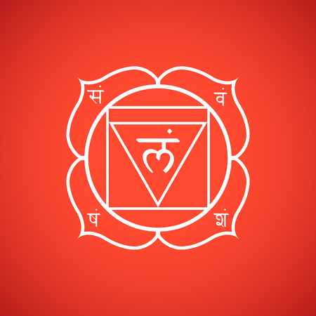 Vector first root chakra Muladhara with hinduism sanskrit seed mantra Lam and syllables on lotus petals. Outline contour white monochrome symbol with isolated colored red background for meditation, yoga and energy spiritual practices.  Illustration