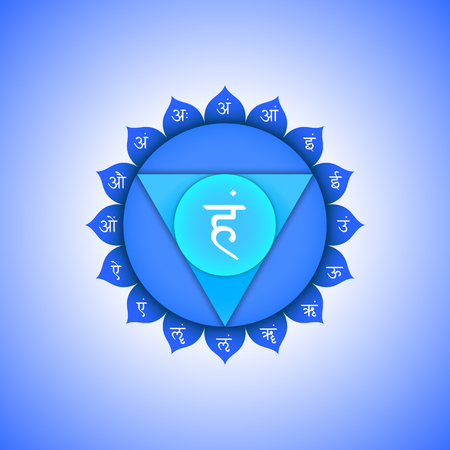 vishuddha: Vector fifth Vishuddha throat chakra with hinduism sanskrit seed mantra Ham and syllables am, ah, im, um, irm, em, aim, om, aum on lotus petals. Flat style blue volumetric symbol with colored background design for meditation, yoga and energy spiritual pra
