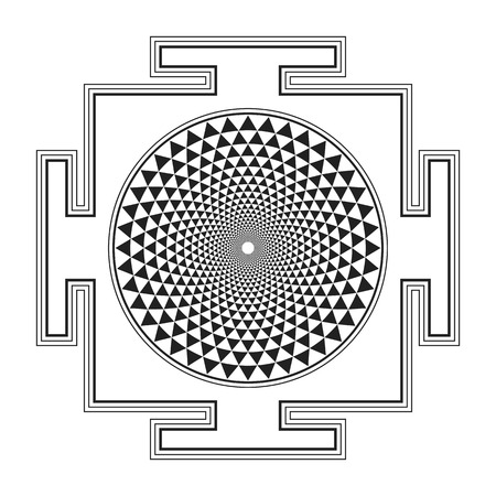vector black outline hinduism Sahasrara yantra illustration one thousand petals diagram isolated on white background