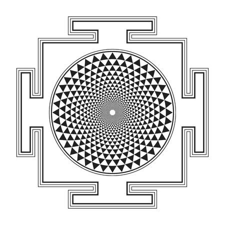 vector zwart overzicht hindoeïsme Sahasrara yantra illustratie duizend bloemblaadjes diagram geïsoleerd op een witte achtergrond