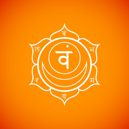 Vector second Svadhishthana sacral chakra with hinduism sanskrit seed mantra Vam and syllables on lotus petals. Outline contour white monochrome symbol with isolated colored orange background for meditation, yoga and energy spiritual practices.