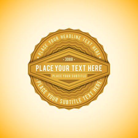 vector vibrant gold colored flat design circle label decoration with shadows volumetric banner design isolated on light background
