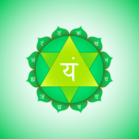 Vector fourth heart chakra Anahata with hinduism sanskrit seed mantra Yam and syllables on lotus petals. Flat style green  volumetric symbol with colored background design for meditation, yoga and energy spiritual practices.