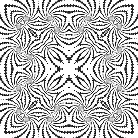 vector black and white abstract monochrome fractal seamless pattern illusion decoration background Illustration