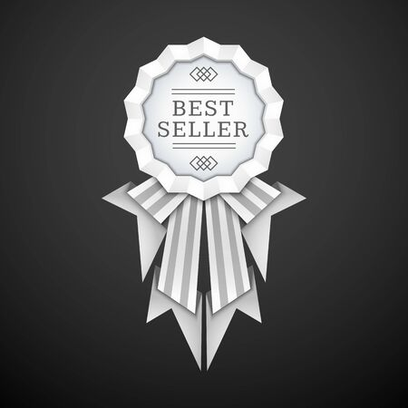 vector silver white colors flat design medal ribbons label decoration with shadows volumetric banner design isolated on black background