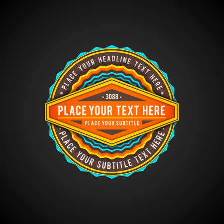 vector vibrant orange yellow cyan colors flat design circle label decoration with shadows volumetric banner design isolated on black background