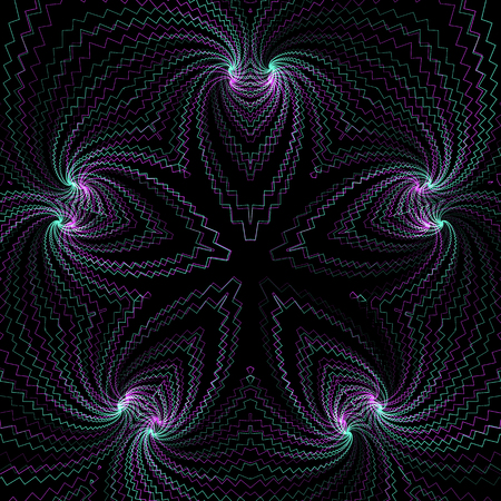 vector abstract fractal geometry decoration anaglif colored three-dimensional illustration black background