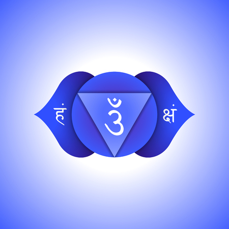 Vector third eye Ajna sixth chakra with hinduism sanskrit seed mantra Om and syllables on lotus petals. Flat style blue indigo volumetric symbol with colored background design for meditation, yoga and energy spiritual practices. Иллюстрация