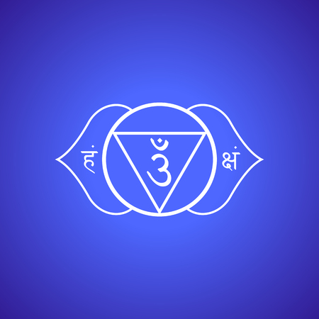 Vector third eye Ajna sixth chakra with hinduism sanskrit seed mantra Om and syllables on lotus petals. Outline contour white monochrome symbol with isolated colored blue indigo background for meditation, yoga and energy spiritual practices.