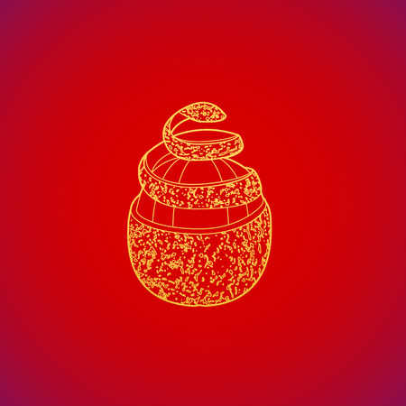 vector gold colorful cleared pomelo fruit spiral rind yellow contour illustration design on red background