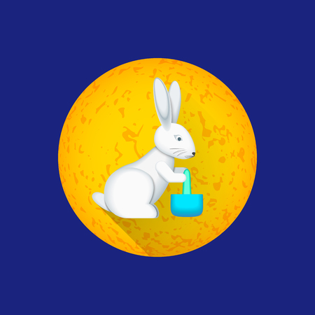 Colorful postcard design traditional Chinese moon rabbit with pestle elixir of life in mortar and illustration yellow moon circle background Illustration