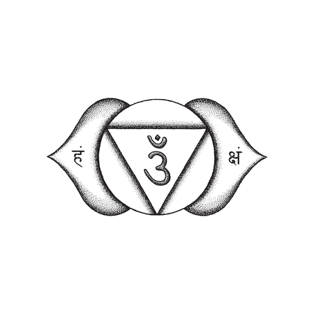 Vector third eye Ajna sixth chakra sanskrit seed mantra Om hinduism syllables on lotus petals. Dot work tattoo style hand drawn black monochrome symbol on white isolated background for yoga and meditation practices. Illustration