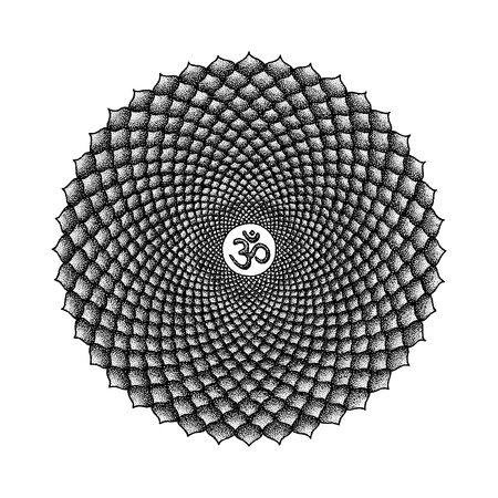 syllable: Vector seven primary crown Sahasrara chakra sanskrit seed mantra Om hinduism syllable one thousand lotus petals. Dot work tattoo hand drawn black monochrome symbol on white background for yoga and meditation.  Illustration
