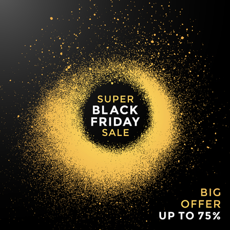 vector grunge gold circle shape spray texture black friday sale discount decoration abstract modern advertising banner template dark background