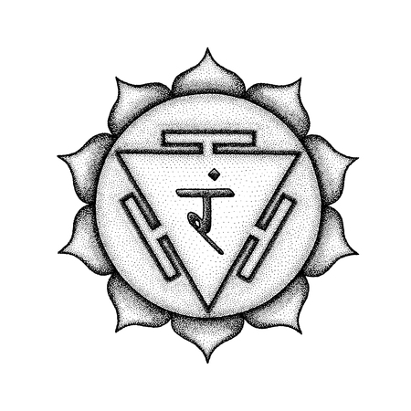 Vector third chakra Manipura sanskrit City of Jewels seed mantra Ram hinduism syllable lotus petals. Dot work tattoo style hand drawn black monochrome symbol white background for yoga meditation  Illustration